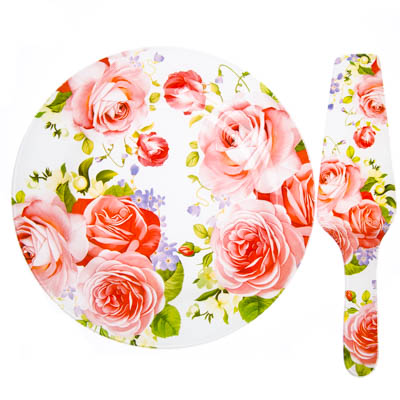 830-420 VETTA Летний сад Набор для торта 2 пр, стекло, 25,4см, S3000/2 PDQ