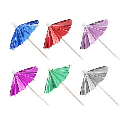 530-113 Набор шпажек 12шт, праздничные с зонтиком, дерево, 9,5см