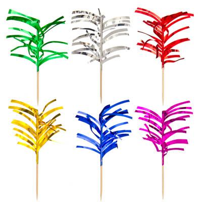 530-114 Набор шпажек праздничных с мишурой 12шт, дерево, 10см