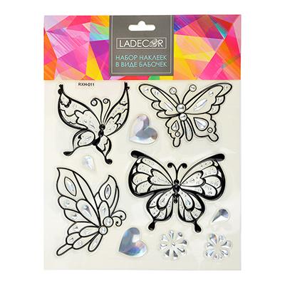 503-475 Набор наклеек, ПВХ, в виде бабочек, 27х21см