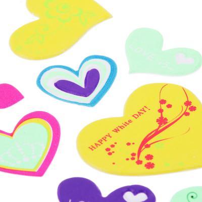 503-478 Набор наклеек, ПВХ, в виде сердец и цветов, 27,5х10,5см, 3-5 дизайнов