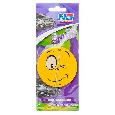 "794-381 Ароматизатор для автомобиля бумажный, аромат новая машина, ""Смайл"" NEW GALAXY"