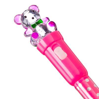582-005 Шариковая ручка-прикол с подсветкой,19 см,  с мишкой