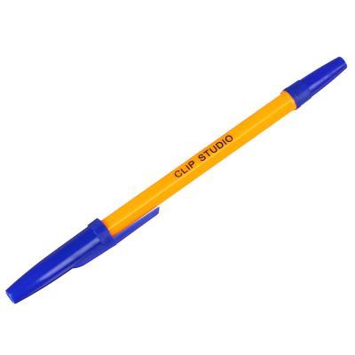 525-103 Ручка шариковая ClipStudio 0,7 мм, синяя, жёлтый корпус