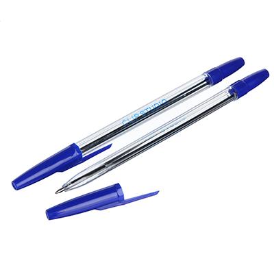 525-104 Ручка шариковая ClipStudio 0,7 мм, синяя, прозрачный корпус