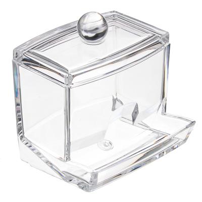 357-080 Органайзер для косметики с крышкой, полистирол, пластик, прозрачный, 9х7х9см