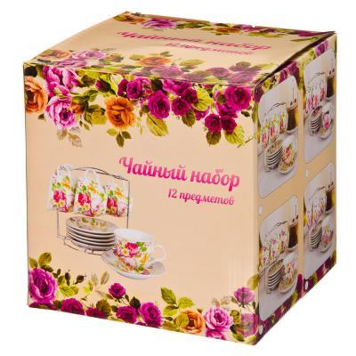 821-498 Английский сад Набор чайный 12 пр. на металлической подставке, 220мл, фарфор