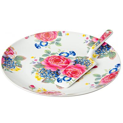821-500 Английский сад Блюдо для торта 26,5см с лопаткой, фарфор