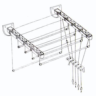 452-051 Сушилка для белья настенная Лифт 1,5м, белая