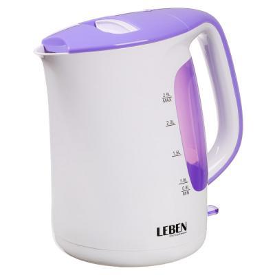 291-006 Чайник электрический 2,5 л LEBEN, 1850 Вт, пластик, белый/сиреневый