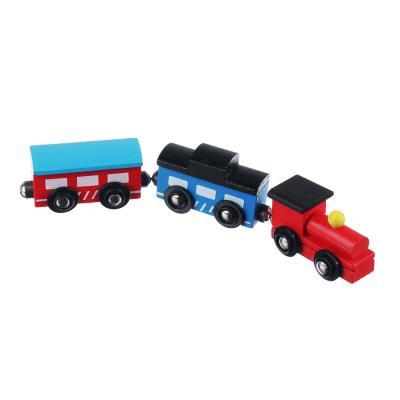 "262-233 Игрушка ""Поезд и 2 вагона"" на магнитах, дерево, пластик, металл, 21х4,5х3см"