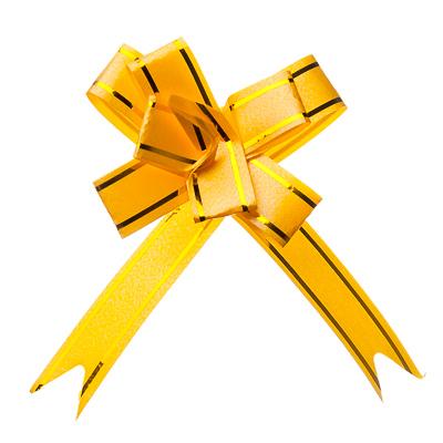 507-701 Набор бантов в форме бабочки 3шт, ПЭТ, 1,2х25см, золотые полосы, 6 цветов