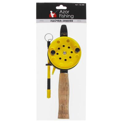 126-008 AZOR FISHING Удочка для зимней рыбалки 35см, с катушкой, хлыст с кивком, файбергласс,ручка из пробки