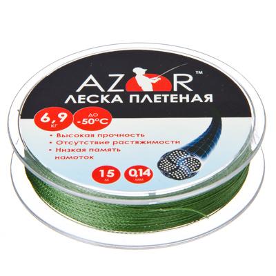 124-008 AZOR Леска плетенка до -50 ?С, 15м, 0,14мм, 6.9кг, полиэтилен шнур 4 плетения