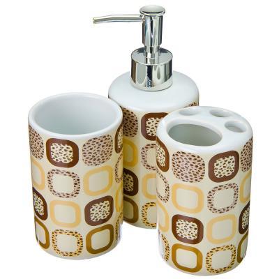 463-756 Набор для ванной: шторка ПЕВА 180х180см, 12 колец, 3 керамических предмета, бежевый