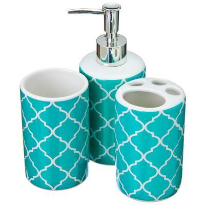 463-757 Набор для ванной: шторка ПЕВА 180х180см, 12 колец, 3 керамических предмета, бирюза