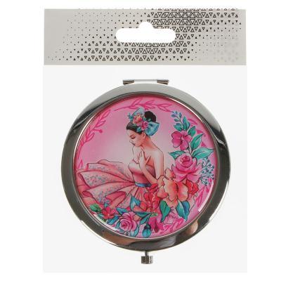 301-153 Карманное зеркало круглое, нержавеющая сталь, d. 7 см, 4 дизайна