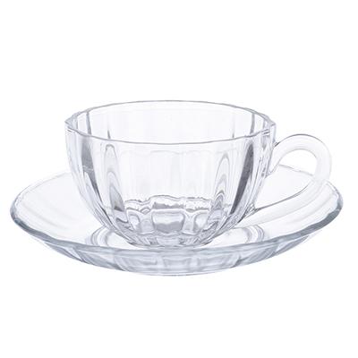 """879-144 Чайная пара: кружка 200 мл, блюдце, стекло, """"Флорин"""""""