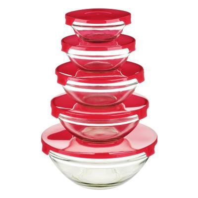828-170 Набор контейнеров с крышкой 5шт (140мл, 210мл, 350мл, 450мл, 850мл), стекло, пластик