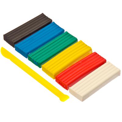 583-096 Пластилин 6 цветов, 120г, Хатбер, со стеком, природный воск, 13,5х5,4х1,7см, H153055-06880