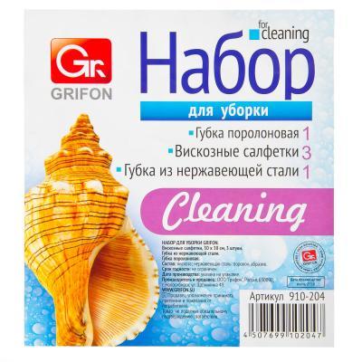 448-209 GRIFON Набор для уборки (вискозные салфетки, губка поролоновая, губка металлическая), арт.910-204