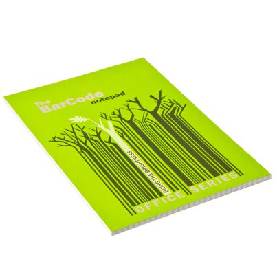 """524-116 Блокнот 50 л., Клей 14,8x21см, кл 6499/2-EAC полн УФ """"Штрих-код: деревья, синий/зеленый"""""""