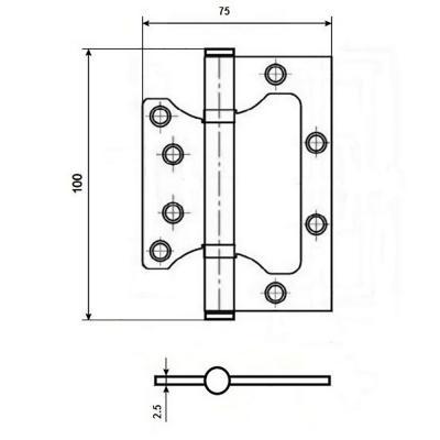 620-178 KORAL Петля накладная (БЕЗ ВРЕЗКИ) 4x3x2,5 ac медь (100x75x2,5)