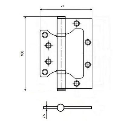 620-179 KORAL Петля накладная (БЕЗ ВРЕЗКИ) 4x3x2,5 ab бронза (100x75x2,5)