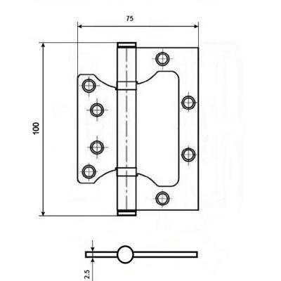 620-180 KORAL Петля накладная (БЕЗ ВРЕЗКИ) 4x3x2,5 bn графит (100x75x2,5)
