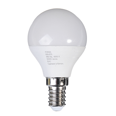 935-072 Лампа светодиодная FORZA G45, 7W, E14, 560lm, 4000К