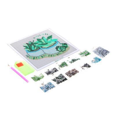 """366-188 Картина из страз, 22х22см, полотно, стекло, стик, """"Цветочный карнавал"""", 5 дизайнов"""