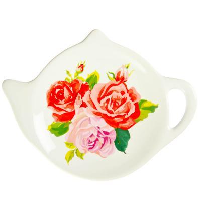 """824-714 Подставка для чайных пакетиков, керамика, 12x9,3x1,6см, 4 дизайна, """"Весеннее настроение"""""""