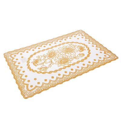 418-003 Салфетка ажурная на стол 30х45 см, ПВХ, бежевый/золото