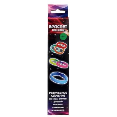 530-124 Браслет неоновый широкий 1,5x20см 4 цвета, пэ, флуоресцентная краска 51035