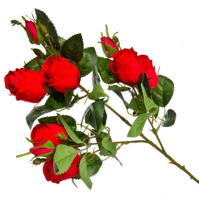 501-417 Цветок декоративный Розовая коллекция, ветка в форме розы, пластик, полиэстер, 67 см, 4 цв, 1507-5