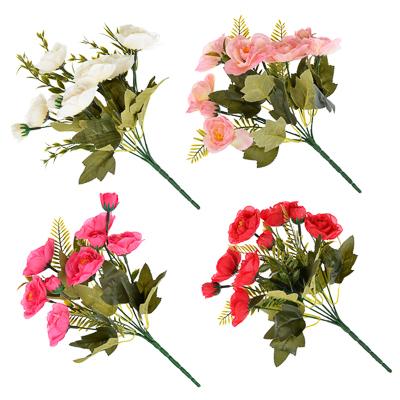 501-426 Цветок декоративный Розовая коллекция, букет в форме розы, пластик, полиэстер, 25-28 см,4цв, 1507-14