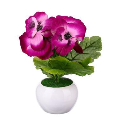 501-438 Цветок декоративный в керамическом горшке Цветочная коллекция, пластик, 12х7х7см, 4 цв, 1507-14