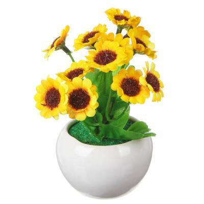 501-442 Цветок в горшке Цветочная коллекция, в виде анют. глазок, пластик,полиэстер,16х7х7см,4цв,1507-16