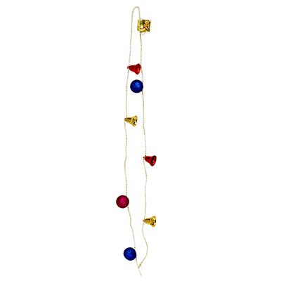 378-215 СНОУ БУМ Бусы декоративные с украшениями и бантиком, 120см, 8 элементов, пластик, полиэстер