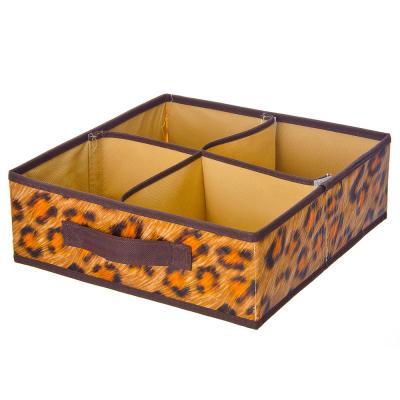 457-334 VETTA Кофр-короб жесткий 2-ярусный с рисунком леопард, спанбонд влагостойкий, 30х30х23см