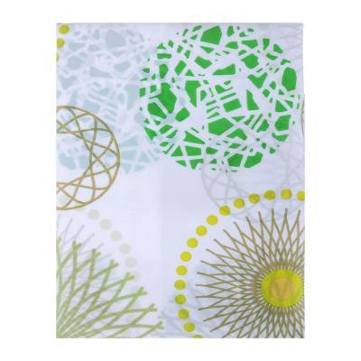 """461-427 VETTA Шторка для ванной, ткань полиэстер с утяжелит, 180x180см, """"Зелёные круги"""""""