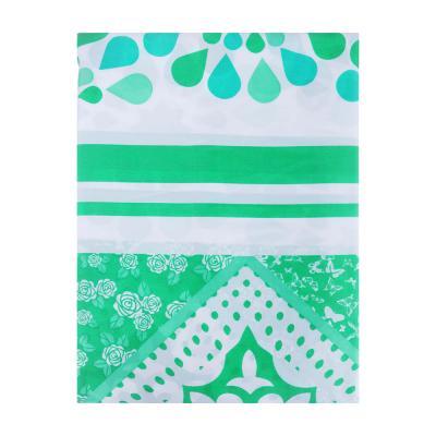 """461-435 VETTA Шторка для ванной, ткань полиэстер с утяжелит, 180x180см, """"Зелёная ажурная"""", Дизайн GC"""