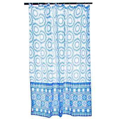 "461-436 VETTA Шторка для ванной, ткань полиэстер с утяжелит, 180x180см, ""Синий орнамент"", Дизайн GC"