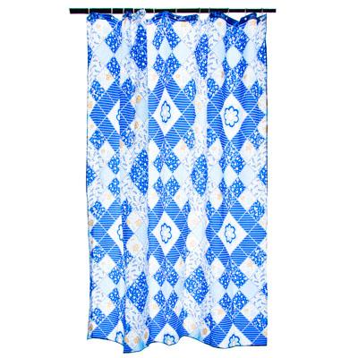 """461-437 VETTA Шторка для ванной, ткань полиэстер с утяжелит, 180x180см, """"Синие ромбы"""", Дизайн GC"""