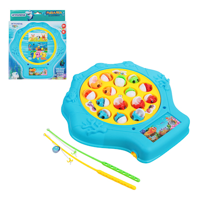 262-237 Игрушка-рыбалка на батарейках, пластик, эл.питания 2xAAA, 22х21х4см, 3 цвета, 9981-7A