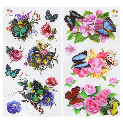 503-498 Наклейка интерьерная, ПВХ, 54,5х24см, с цветами и бабочками, 2 дизайна, арт.19-07-5