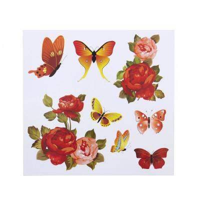 503-501 Наклейка интерьерная, ПВХ, 28х29см, с цветами и бабочками, 8 дизайнов, арт.19-07-8