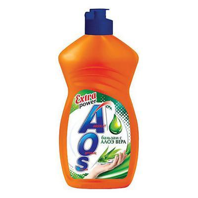 992-031 Средство для мытья посуды AOS Бальзам Алоэ Вера/Апельсин и мята п/б 450г арт.11103/1108-3/1112-3