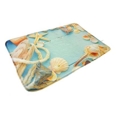 "462-585 VETTA Набор ковриков 2шт для ванной и туалета микрофибра,1,2см,50х80см+50x40см,""Ракушки"",Дизайн GC"