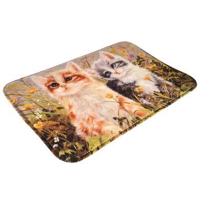 """462-589 VETTA Коврик для ванной флис, принт, губка, 1,2см, 40x60см, """"Котята"""""""
